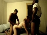 Dirty White Bitch Gets Filmed while Fucking Two Black Guys