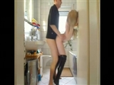 Hottie Blonde in High Heels Boots Fucked in the Bathroom