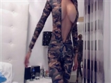 Super Hot Wet Pussy in Camouflage Suit Undresses Completely
