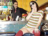 Flashing Pussy in Bar