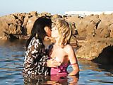Lesbian Girls Kiss and Make out in Water