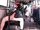 Russian Wife Showing Nude in Public Tram Photo