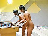 Naked Foosball Playing Photo