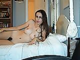 Dark Haired Girlfriend Plays Porno on Nude Camera Pics
