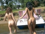 Two Naked Girls in the Country Getting Wet in Lake