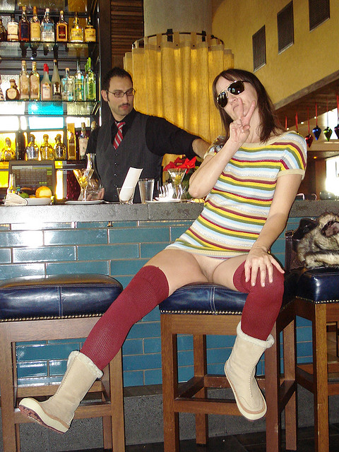 Flashing Pussy in Bar