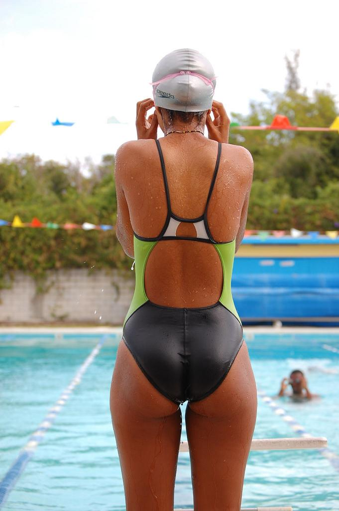 Female Swimmer in Tight Swimming Costume