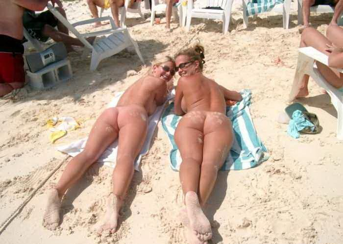 Two Sexy Horny British Wives Naked at Beach