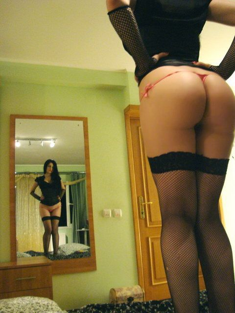 Sexy College Girl Mirror Posing in Black Stockings