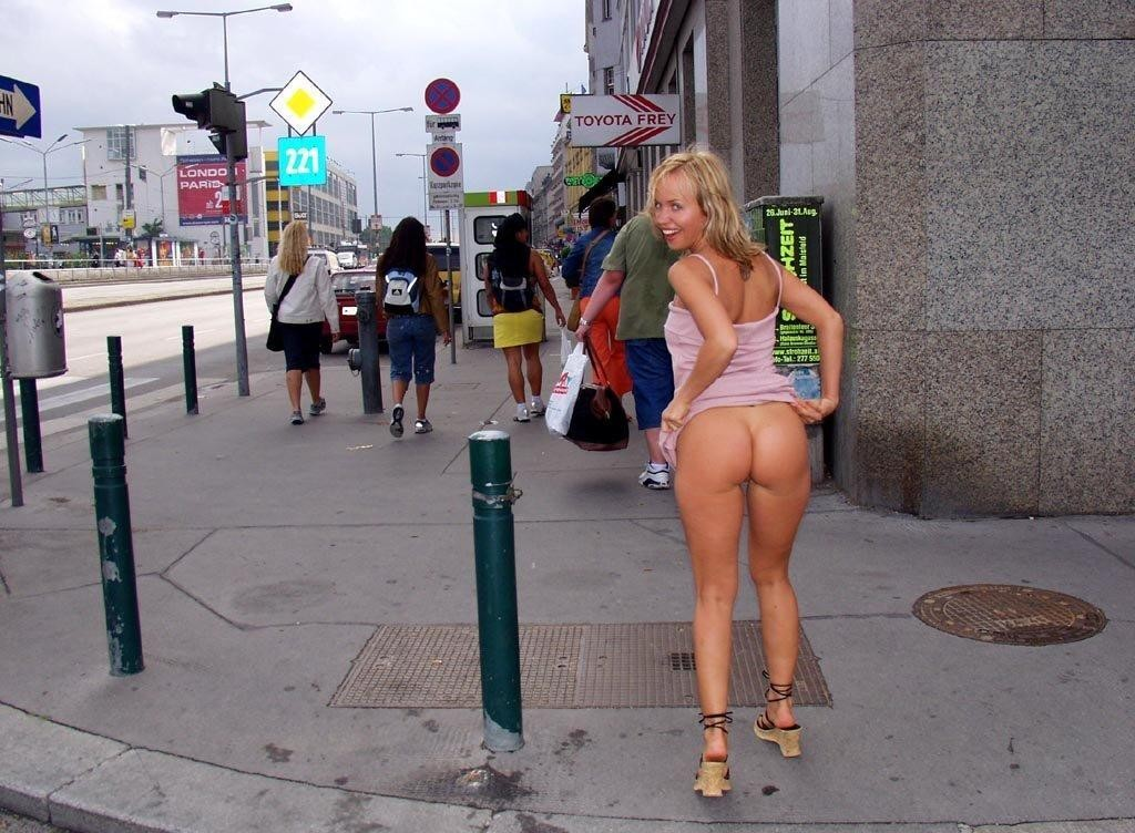 Her Bare Naked Ass And Pussy On High Trafficked Street In America