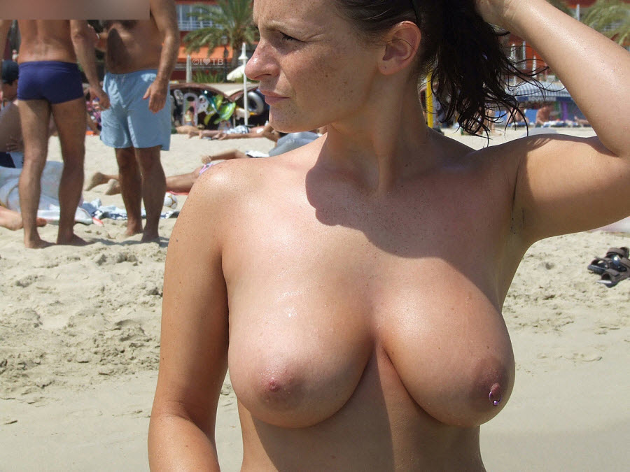 Upset Wife Showing Big Natural Boobs on Public Beach