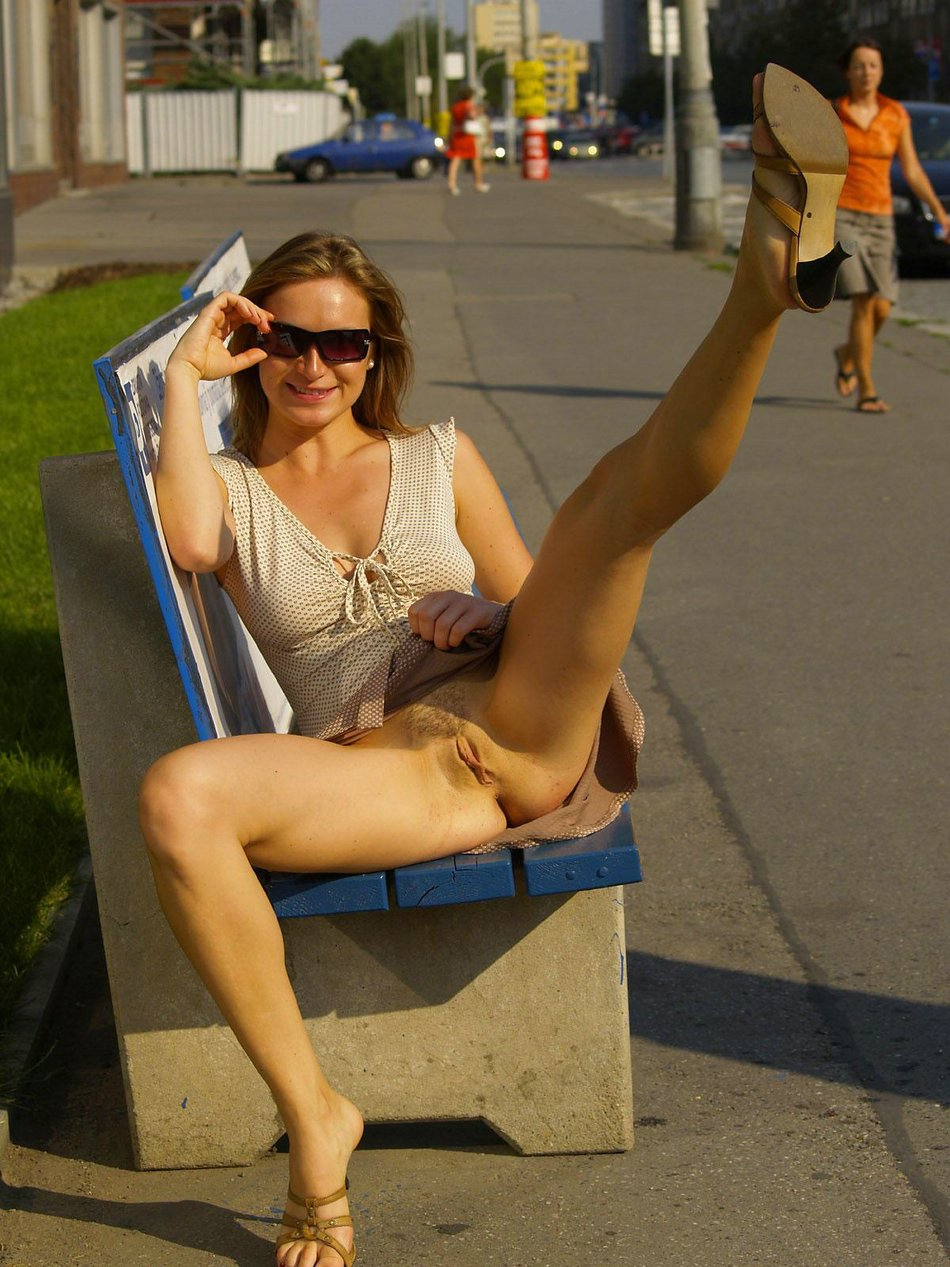 Kinky Wife Flashes Pussy in a Public Street Photos