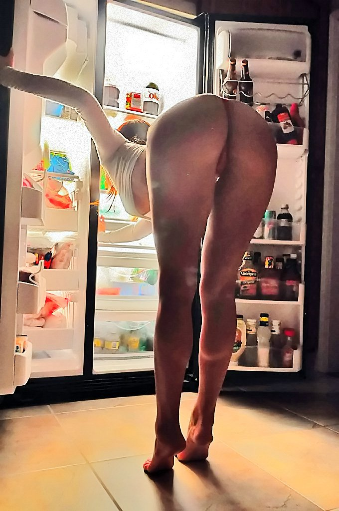 Wife Bends Over to Reach Booze in the Fridge Sexy Hot Photos
