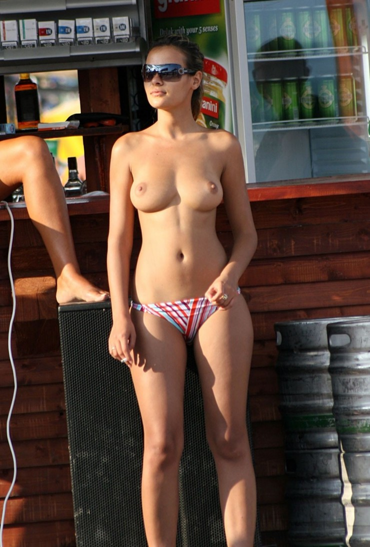 Hot Topless Girl Posing By The Beach Bar Sexy Photo