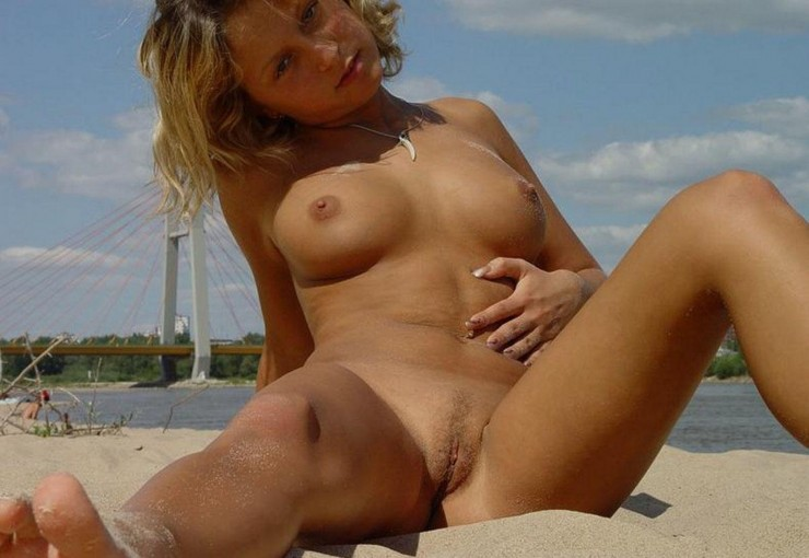spread beach Russian legs nude