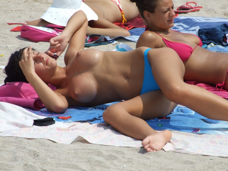 Beach big boobs voyeur amateur tits