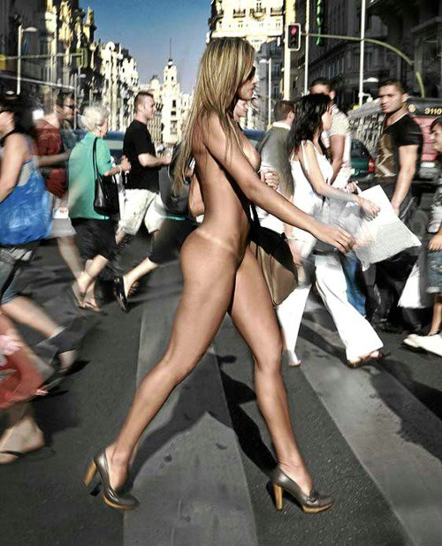 120430 brazilian girl walking nude in public street hot photo The Nude PETA Protests 2. The Nude PETA Protests 2. Nude Protest on Street
