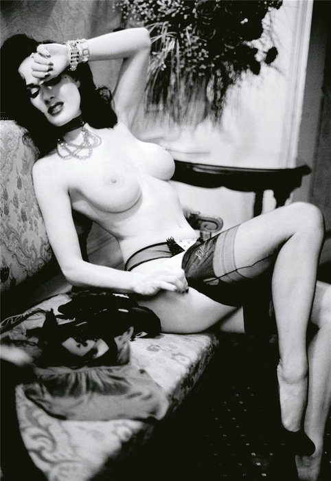 Sexy Dita von Teese Topless in Vintage Photo