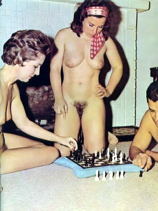 Ladies Playing Nude Chess on Photo