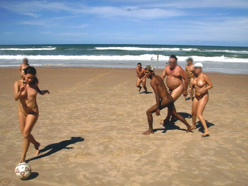 Naked Beach Soccer Game Photo