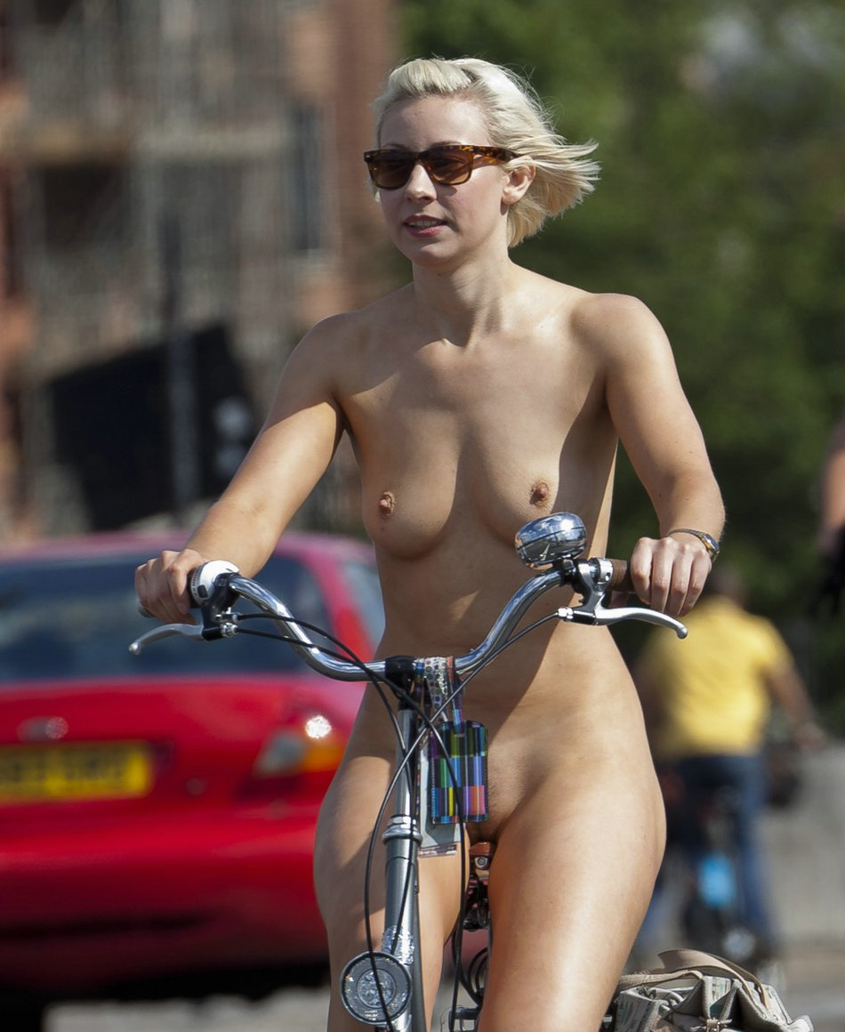Naked Bicycle Riding Girl Photo