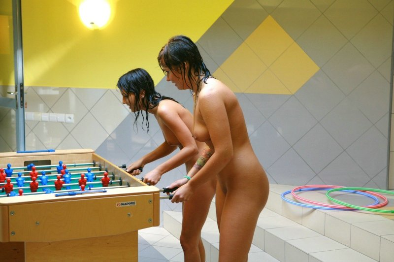 Naked Foosball Playing Photo