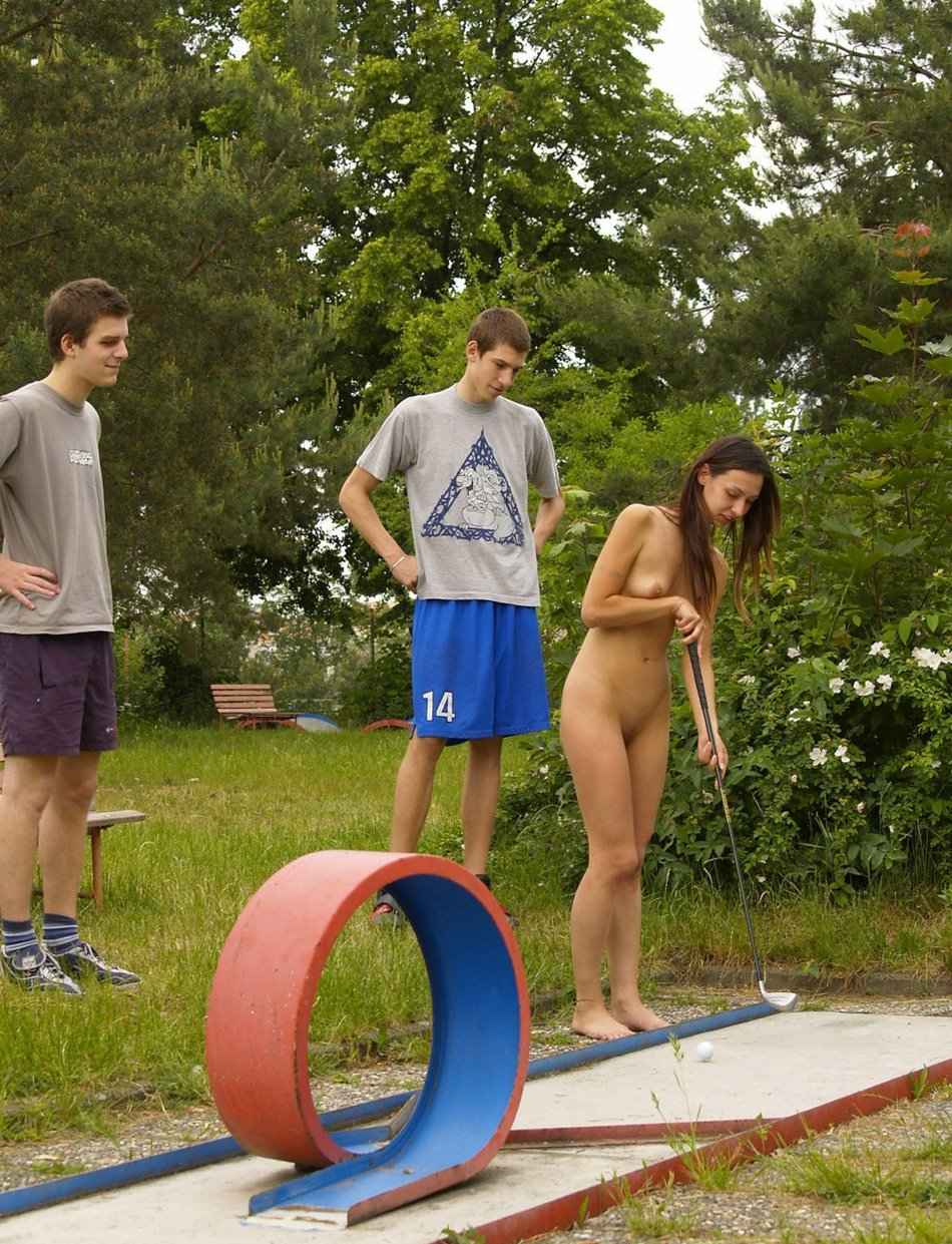 Naked Girl Playing Mini Golf in Public Photo