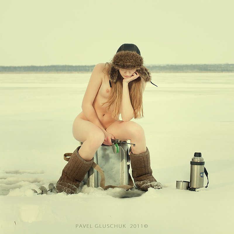 Nude Ice Fishing Photo