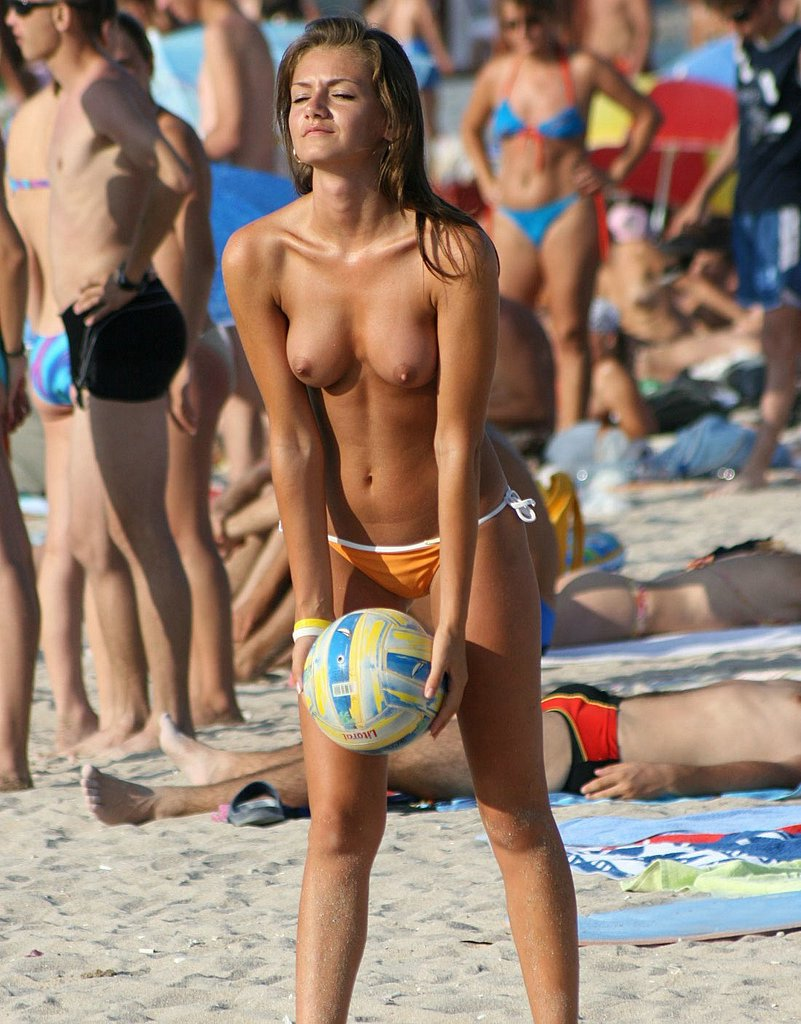 Topless Beach Volleyball Girl Photo