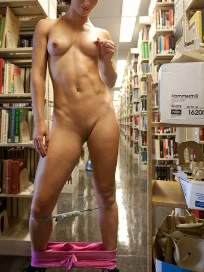 Porn Pictures Naughty Girlfriend Strips Nude in Public Library